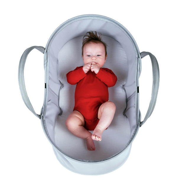 phil&teds nest baby bassinet with baby inside top view_silver
