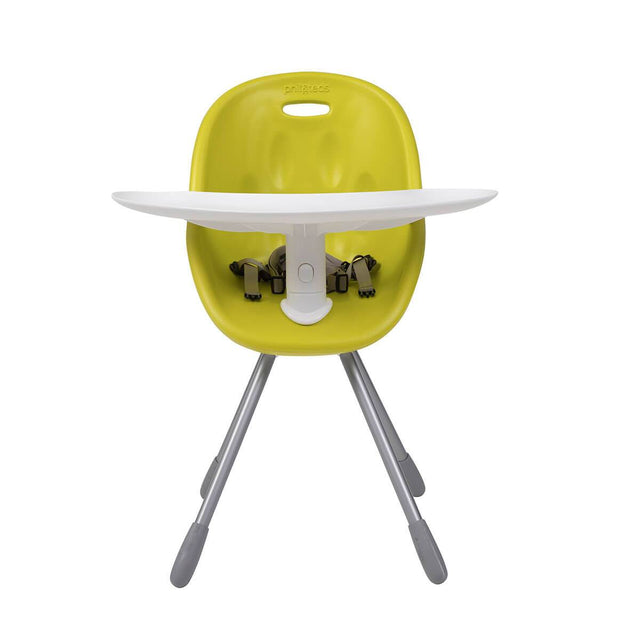 phil&teds award winning poppy my chair in lime with food tray and harness front view _lime