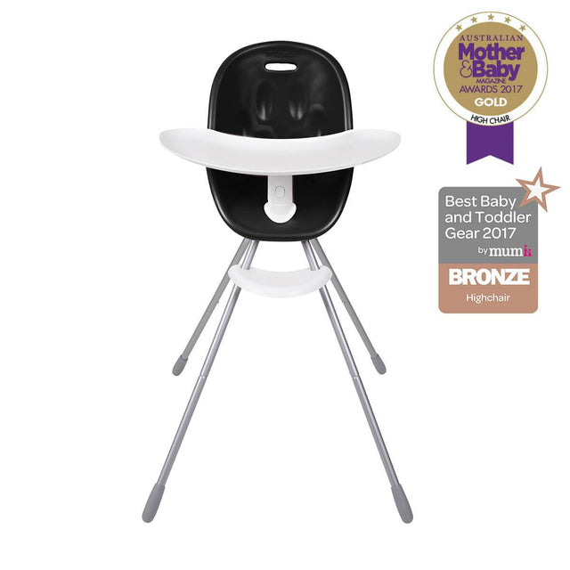 phil&teds award winning poppy high chair with food tray in black front view _black