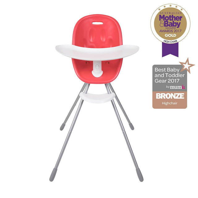 phil&teds award winning poppy high chair with food tray in cranberry front view _cranberry