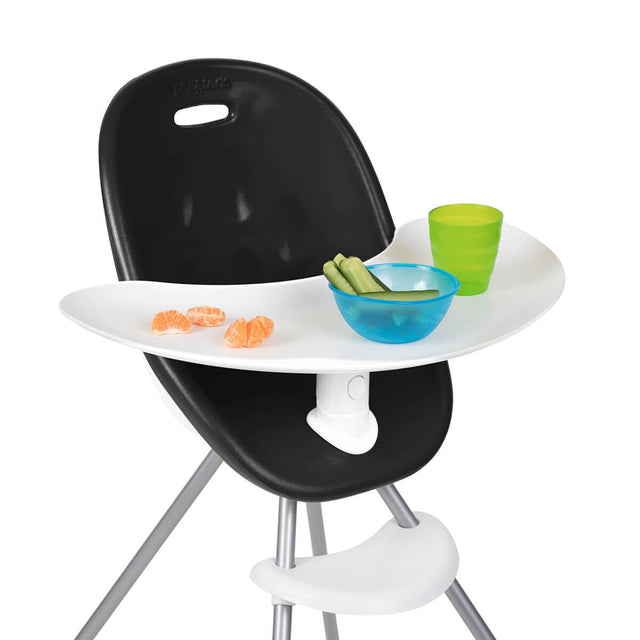 phil&teds award winning poppy high chair with close up of food tray in black 3/4 view _black