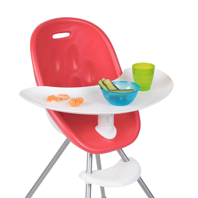 phil&teds award winning poppy high chair with close up of food tray in cranberry 3/4 view _cranberry