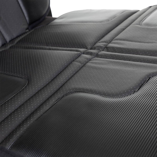 phil&teds® vehicle seat mate™ fabric close-up to highilght wipe clean PU leather and quilted padding for extra protection_black