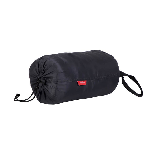phil&teds snuggle & snooze sleeping bag in charcoal compactly packed front view_charcoal