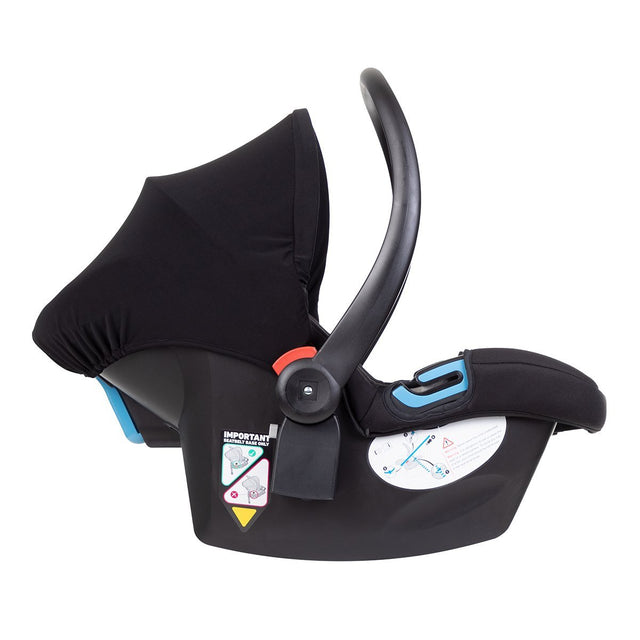 alpha™ infant car seat shown side on with carry handle in upright position for carrrying_black/grey marl