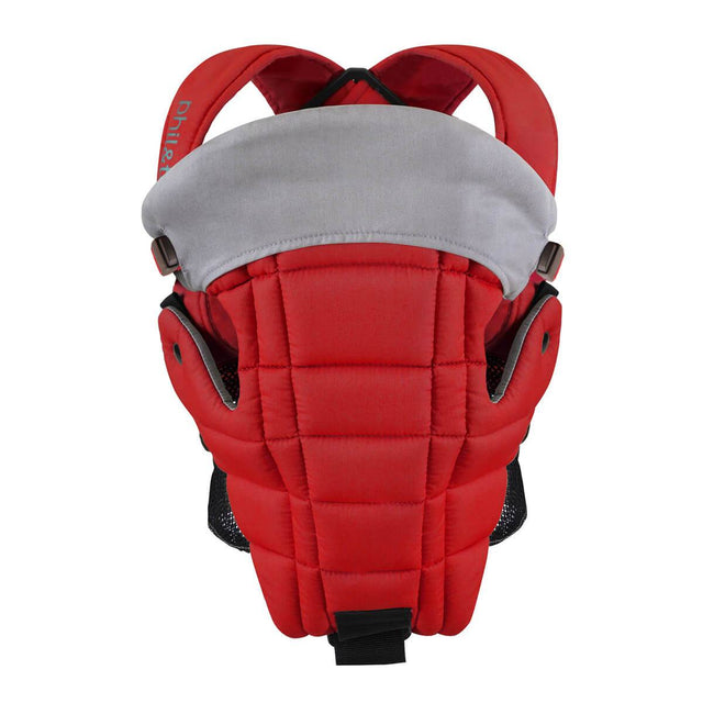 phil&teds emotion baby carrier in scarlett front on view_scarlet
