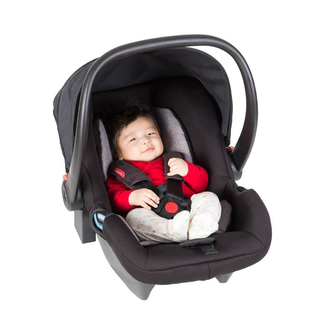 phil&teds alpha car seat with baby inside 3/4 view_black/grey marl
