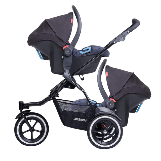 phil&teds TSDK11 car seat adaptor with twin alpha car seats attached side view view_default