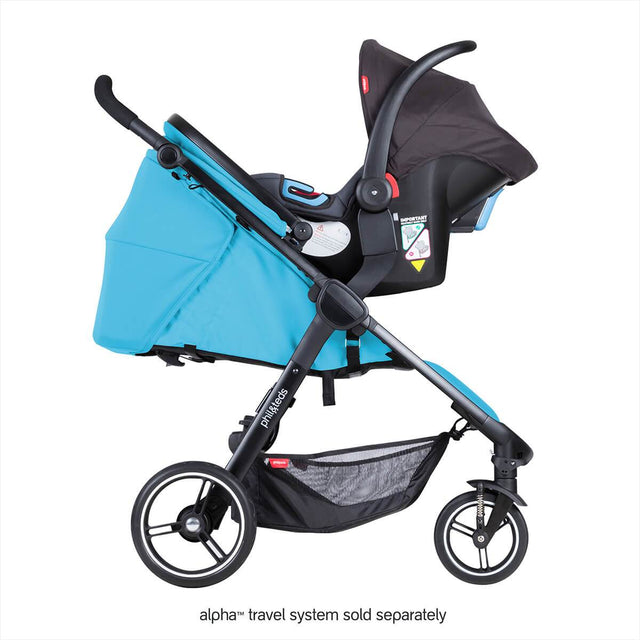 phil&teds smart stroller v3 cyan blue with alpha carseat side view_cyan