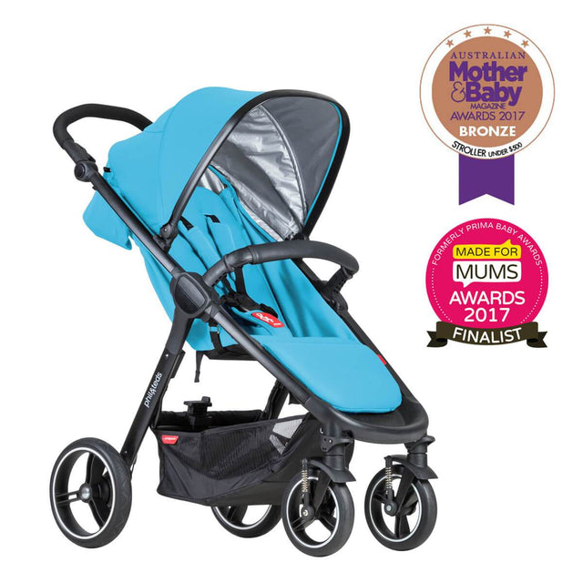 phil&teds smart stroller v3 cyan blue lightweight travel mother and baby award winner 3qtr view_cyan