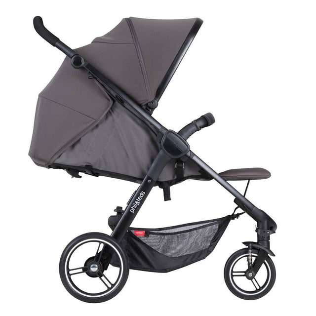 phil&teds smart stroller v3 graphite grey lightweight travel lie flat position side view_graphite