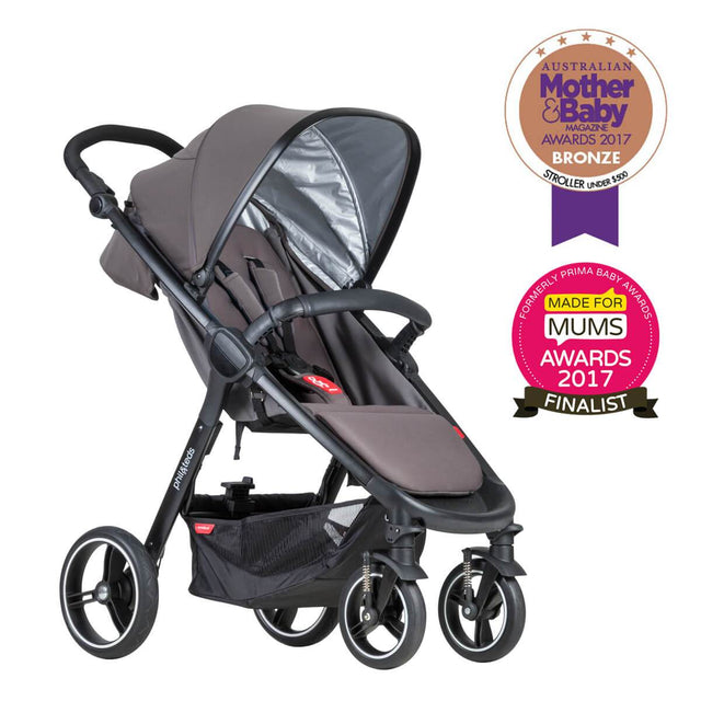 phil&teds smart stroller v3 graphite grey lightweight travel mother and baby award winner 3qtr view_graphite