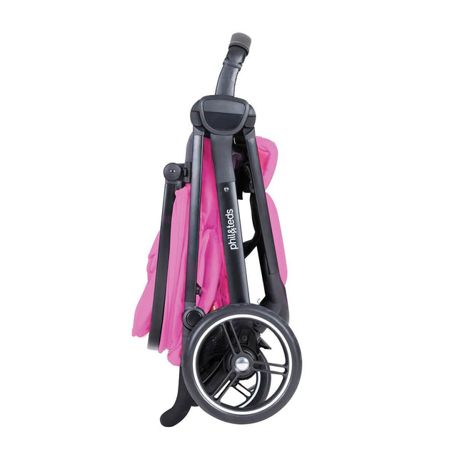 phil&teds smart stroller v3 raspberry pink lightweight travel stand fold side view_raspberry
