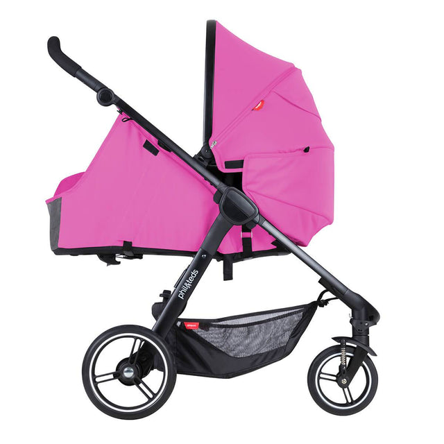 phil&rteds smart stroller v3 raspberry pink lightweight travel cocoon parent facing position_raspberry