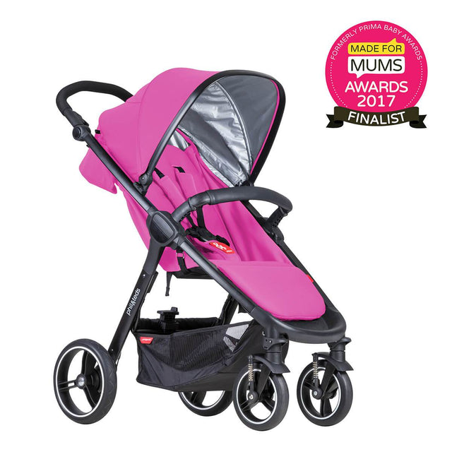 phil&teds smart stroller v3 raspberry pink lightweight travel made for mums finalist 3qtr view_raspberry