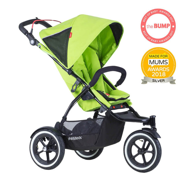 phil&teds sport v5 all terrain inline stroller with autostop in green apple award winning made for mums 3qtr view_apple