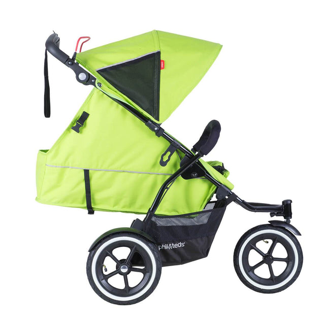 phil&teds sport v5 all terrain inline stroller with autostop in apple greein newborn position side view_apple