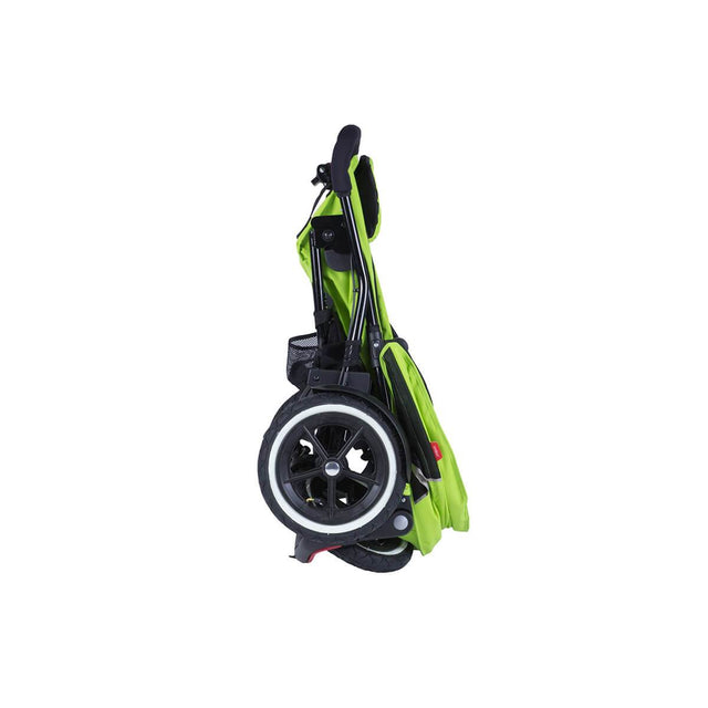 phil&teds sport v5 inline stroller in green apple stand fold side view_apple