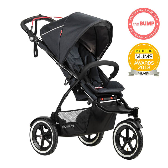 phil&teds sport v5 all terrain inline stroller with autostop in black award winning made for mums in 3qtr view_black