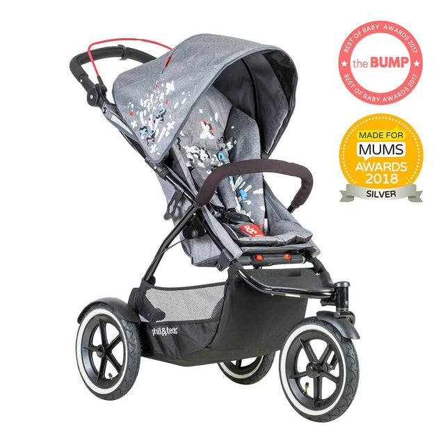 phil&teds sport v5 all terrain inline stroller with autostop in graffiti award winning made for mums 3qtr view_graffiti