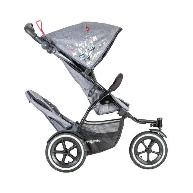 phil&teds sport v5 all terrain inline stroller with autostop in graffiti with double kit side view_graffiti