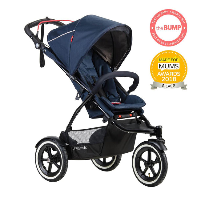 phil&teds sport v5 all terrain inline stroller with autostop in midnight blue award winning made for mums 3qtr view_midnight