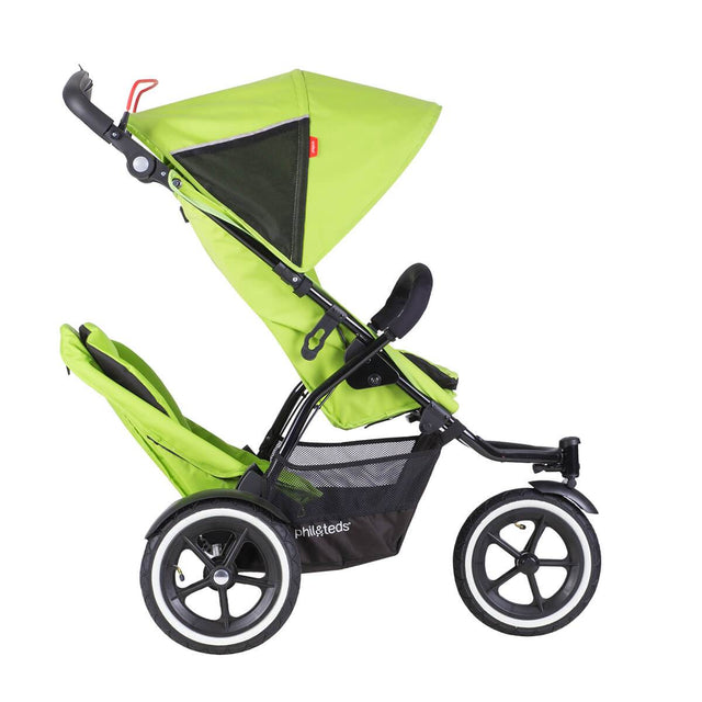 phil&teds sport v5 all terrain inline stroller with autostop in green apple with double kit side view_apple
