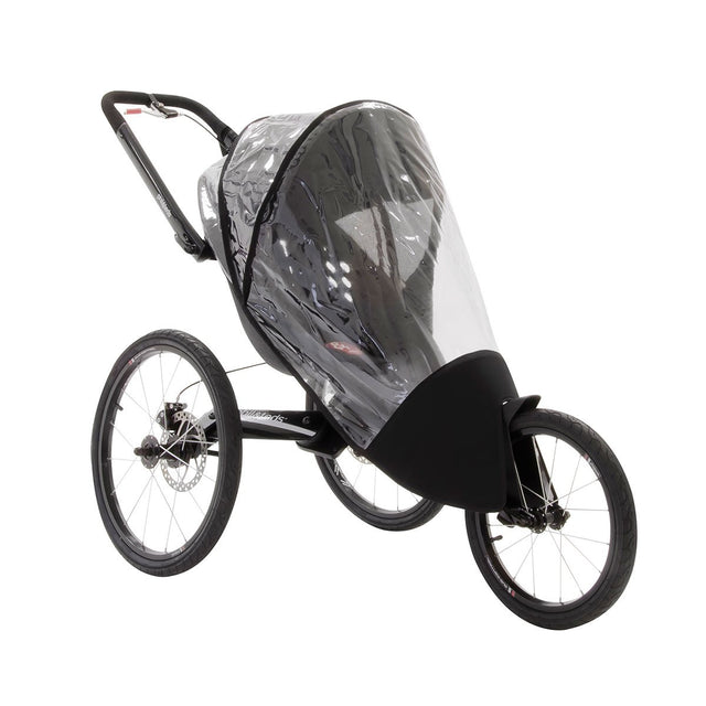 phil&teds sub4 jogging stroller with storm cover fitted 3qtr view_black