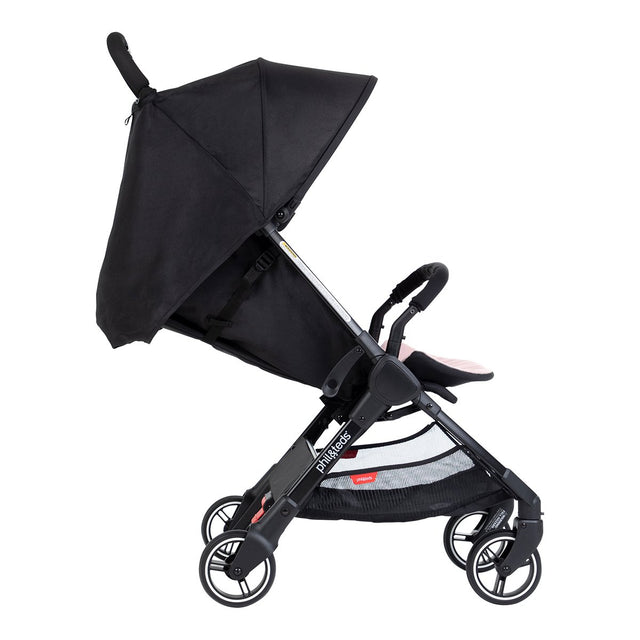 phil&teds go light and compact buggy recline in blush pink side view_blush