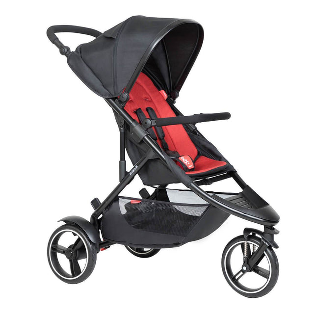 phil&teds dot buggy with blush liner 3/4 view_chilli