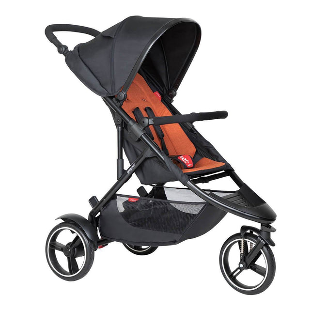 phil&teds dot inline buggy in rust orange colour 3/4 view_rust
