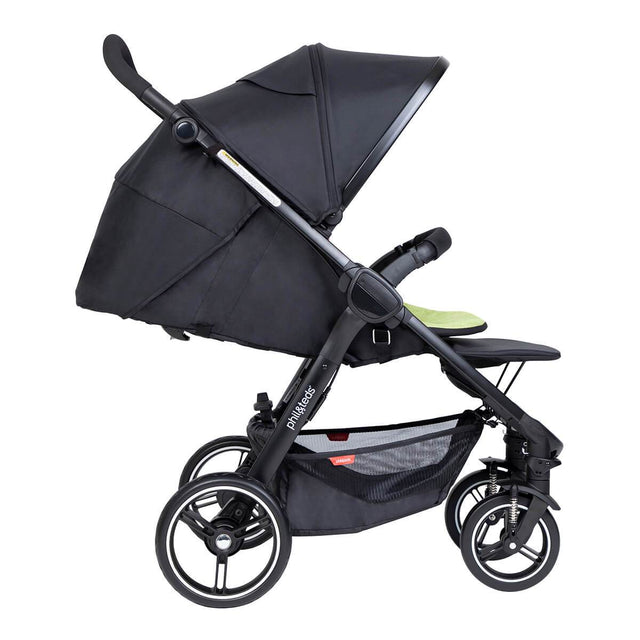 phil&teds compact smart buggy with apple liner in fully reclined position side view_apple