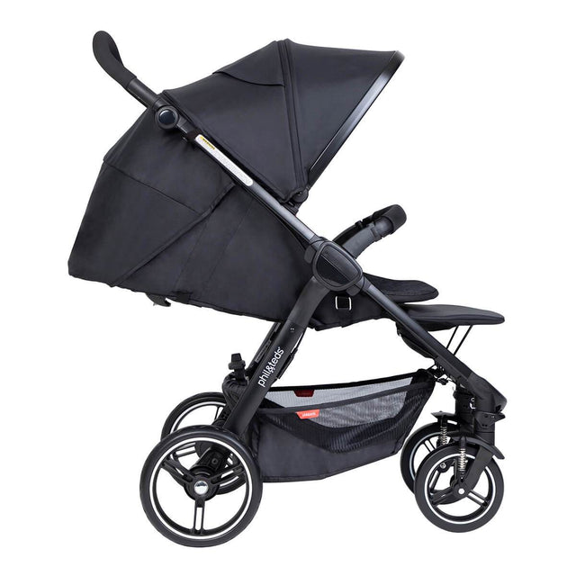 phil&teds compact smart buggy with black liner in fully reclined position side view_black