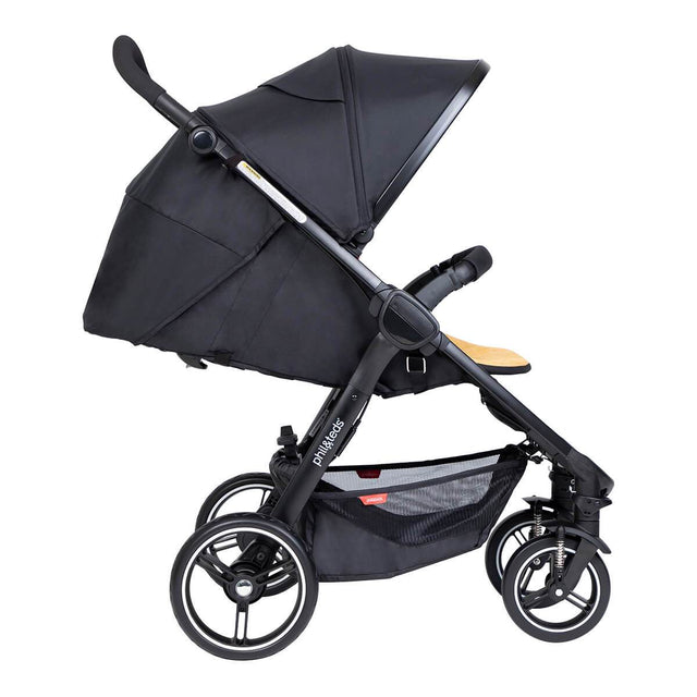 phil&teds compact smart buggy with butterscotch liner in fully reclined position side view_butterscotch