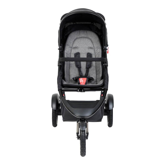 phil&teds sport inline buggy in charcoal grey front view_charcoal