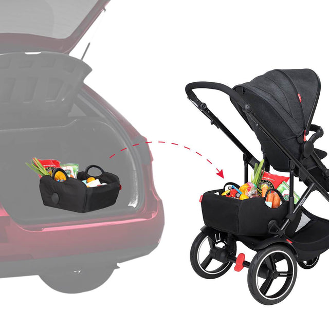 phil&teds tote storage bag is easy to take off buggy and put in the boot of your car_black
