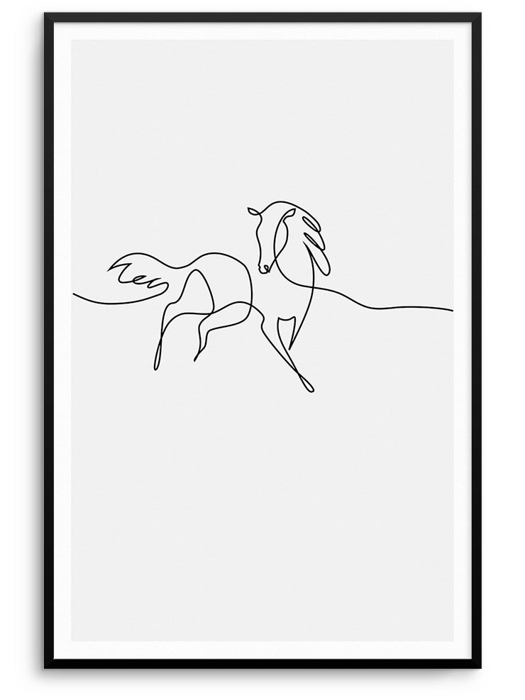 ONE LINE HORSE - FINE ART POSTER