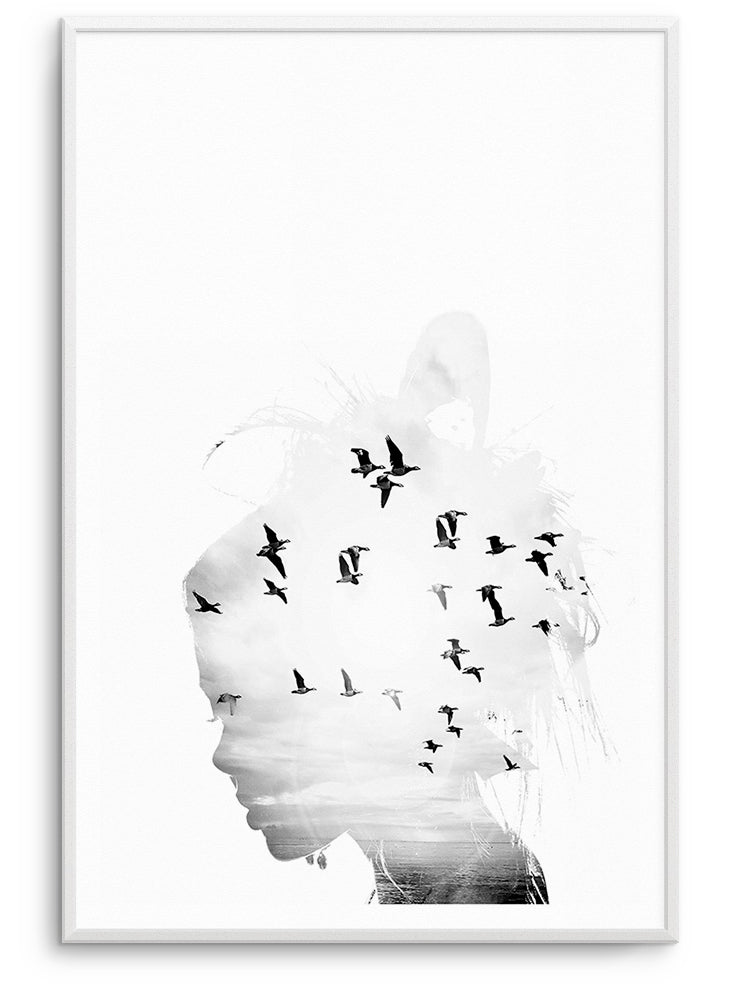 BIRDS IN MY HEAD - FINE ART POSTER