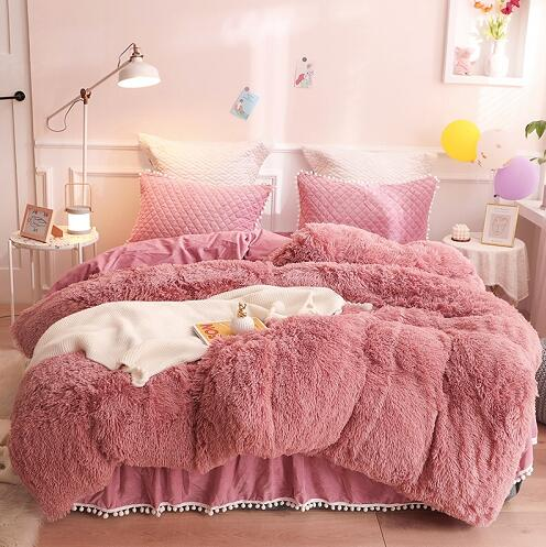 Luxury Plush Shaggy Duvet Cover Set Quilted Pompoms Fringe Ruffles Bedskirt Pillow Shams Bedding Set Twin Full Queen King