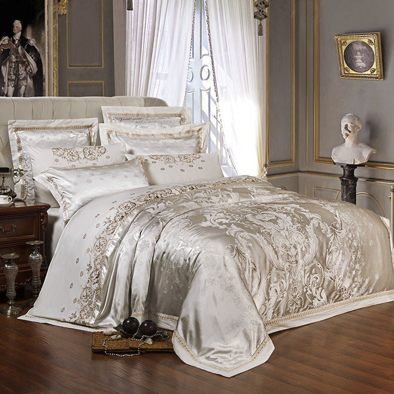 Silk Satin Jacquard Duvet Cover Bedding Set Queen king Size Embroidery Bed Set Bed Sheet