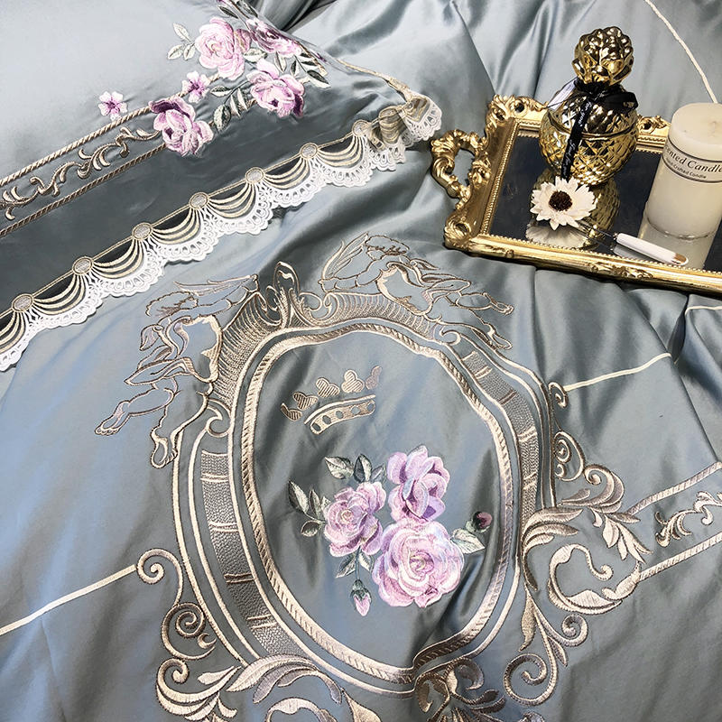 Egyptian Cotton King Queen Size Bedding Set Embroidery Duvet Cover Classical Blue Pink Bed Cover Set