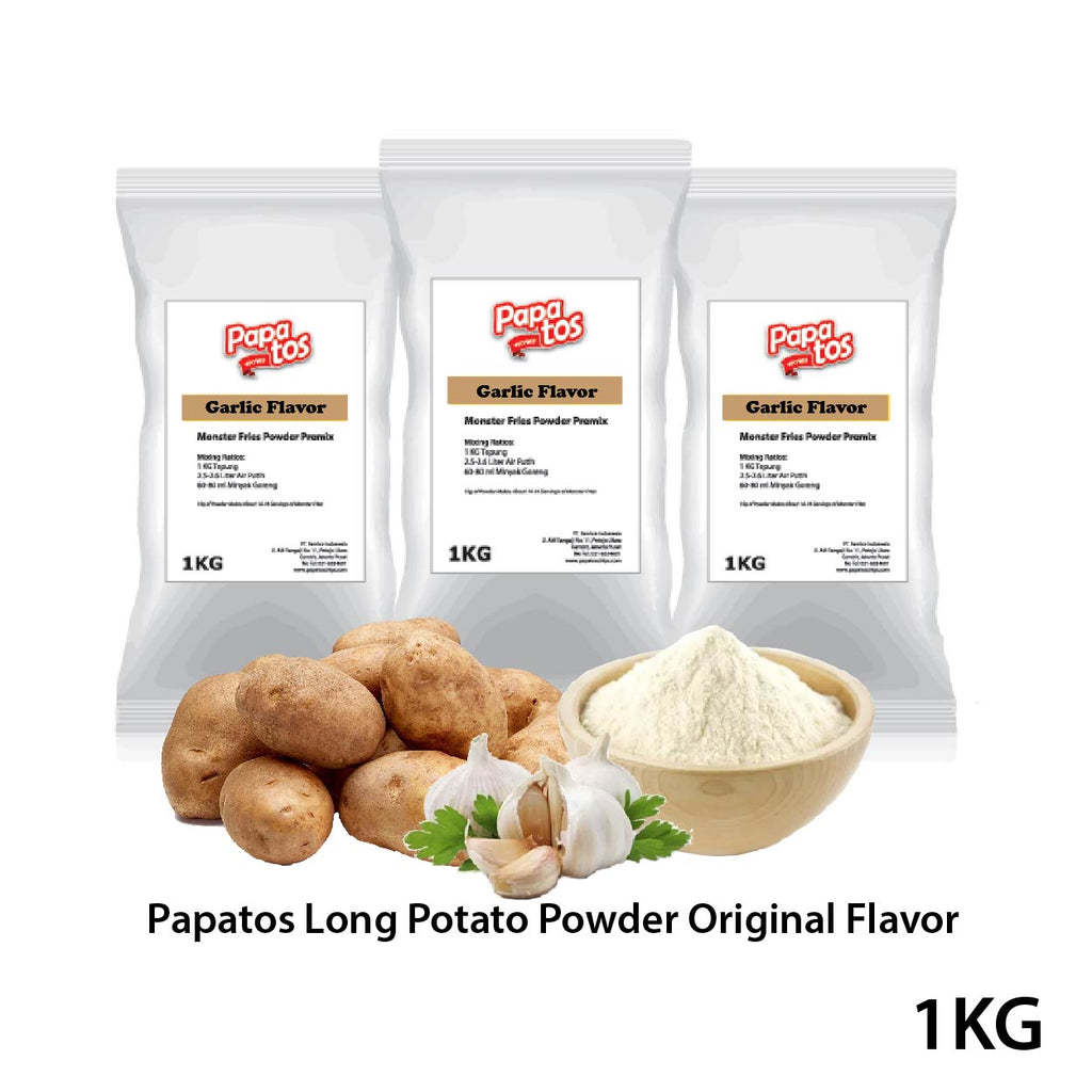Papatos Long Potato Fries Powder Garlic Flavor