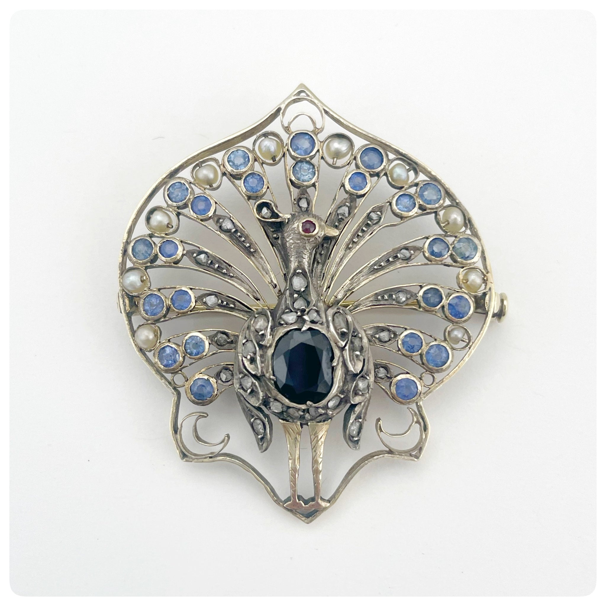 14KT Gold, Sapphire, Ruby, Pearl and Diamond Peacock Brooch, Poland, Circa 1885