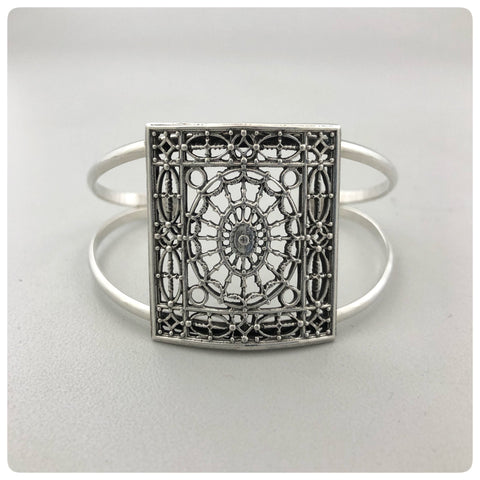 "Sterling Silver Split Cuff Bracelet with Full Panel, ""Daughters of the American Revolution"" Collection, G2 Silver, Charleston, SC, New - The Silver Vault of Charleston"