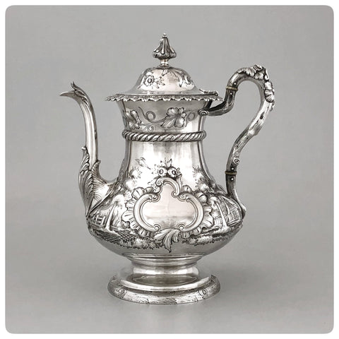Sterling Silver Coffee Pot, Bailey and Company, Philadelphia, PA, Working 1848-1878 - The Silver Vault of Charleston