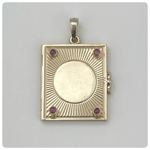 14KT Gold and Red Stone  Book Locket Pendant, Circa 1925