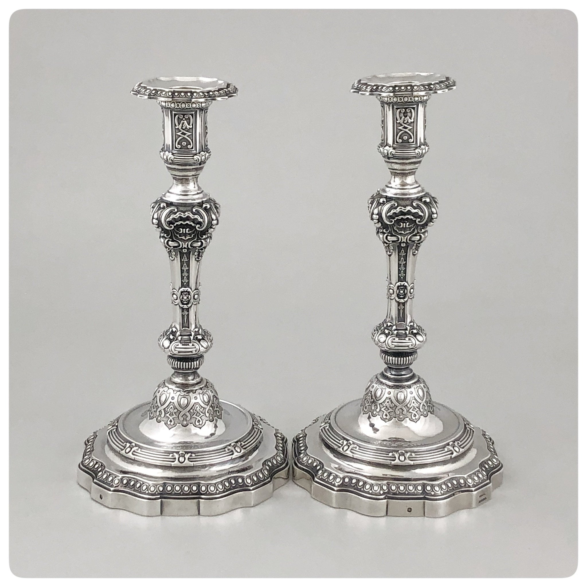 First Standard (950/1000) Pair of Candlesticks, Gustave Odiot for Maison Odiot, Paris, 1865-1897 - The Silver Vault of Charleston