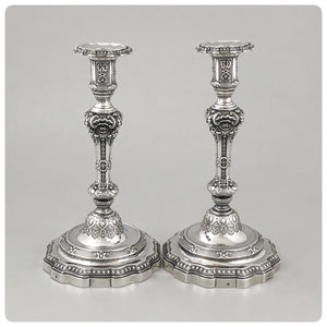 French First Standard (950/1000) Pair of Candlesticks, Gustave Odiot for Maison Odiot, Paris, 1865-1897 - The Silver Vault of Charleston
