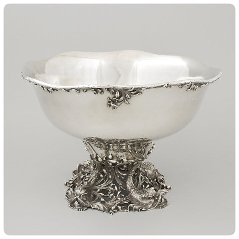 Sterling Silver Punch Bowl with Dolphin Pedestal, Meriden Britannia Company, Meriden, CT, Circa 1895 - The Silver Vault of Charleston