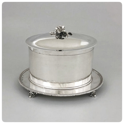 English Sterling Silver Biscuit Box on Stand, John Hunt and Robert Roskell, London, 1868-1869 - The Silver Vault of Charleston